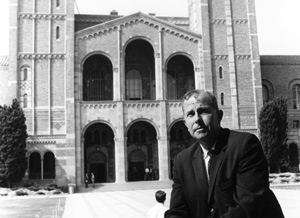 Chancellor Murphy and the facade of Royce Hall