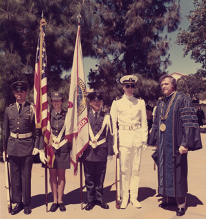 Chancellor Young with ROTC color guard